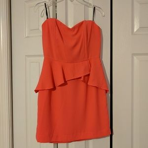 Coral strapless dress